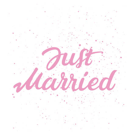isilated decorative hand drawn lettering of text Just Married on white background