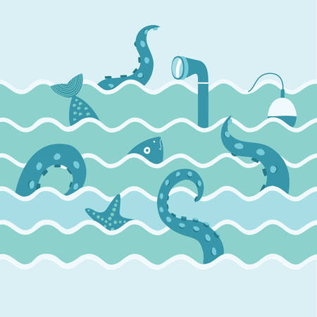 Color vector illustration of octopus tentacles, fish, float and starfish and periscope of submarine in the waves illustration.Fishing trip