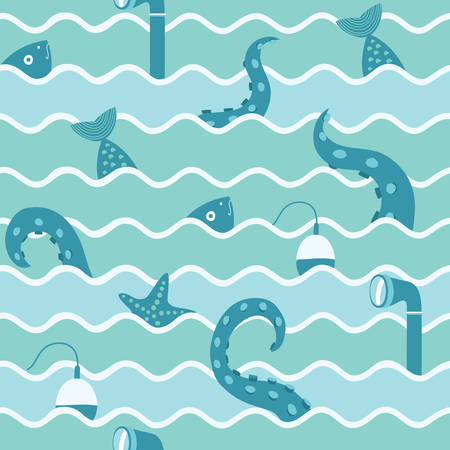 periscope: Color vector seamless background. Illustration of octopus tentacles, fish, float and starfish and periscope of submarine in the waves illustration.Fishing trip