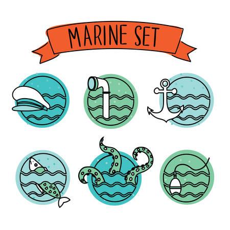 pus: Vector set of outline round nautical icons on white isolation background