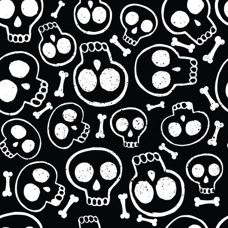 fun background: Vector seamless pattern of illustration white skills in ink on black background