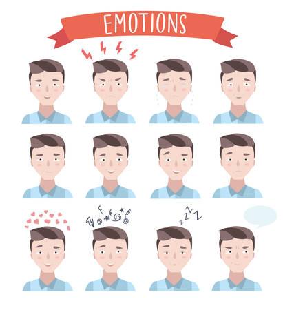 sarcastic: Vector set illustration of handsome man emotions portraits Illustration