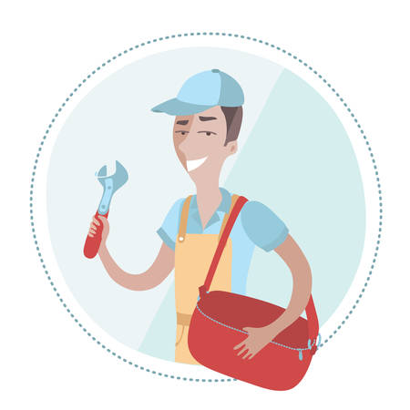 coverall: Vector illustration of plumber man dressed in coverall and holding adjustable wrench in his hand and holding bag in his other hand Illustration