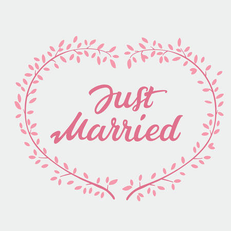 wedlock: Vector decorative hand drawn lettering of text Just Married and pink wreath isolated on white background