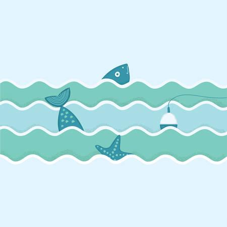 Vector ilustración plana de pescados y flotador y estrellas de mar. Viaje de Pesca