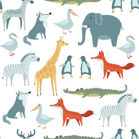 aves caricatura: Vector seamless pattern of illustrations set of  funny cute animals