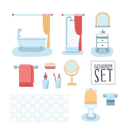 bathroom cartoon: Vector set of cute illustration of element bathroom interior Illustration