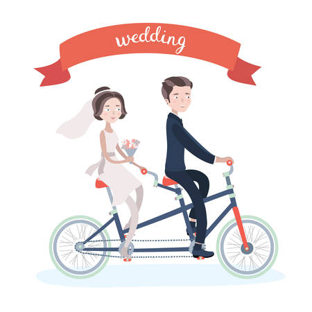 Vector illustration of wedding couple riding on tandem bike and hand writing lettering on red ribbon