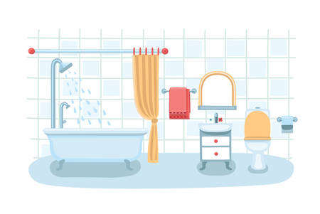 Vector illustration of a cute bathroom interior