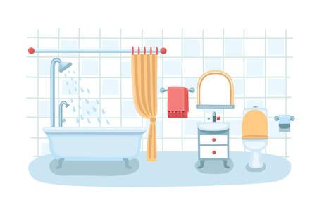 bathroom cartoon: Vector illustration of a cute bathroom interior