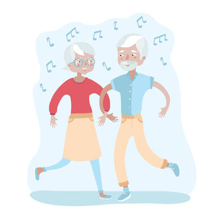 Vector illustration of happy elderly couple dancing 向量圖像