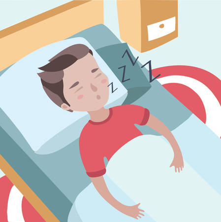 Colorful vector illustration of cute boy sleeping boy puffing in his sleep
