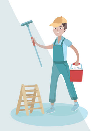 window washer: Vector illustration of window washer holding wiper in his hand and clean you window and bucket in his other hand
