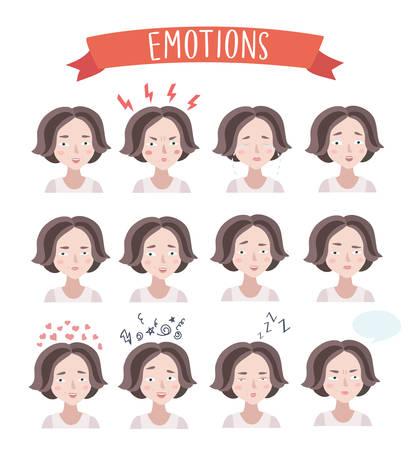 sarcastic: Vector set illustration of cute woman emotions portraits