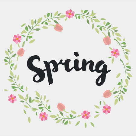 young culture: Spring lettering design. Decorative typography element on spring with floral decorative leaves and flowers. Season colors label. Young culture fashion art for t-shirt emblem Illustration