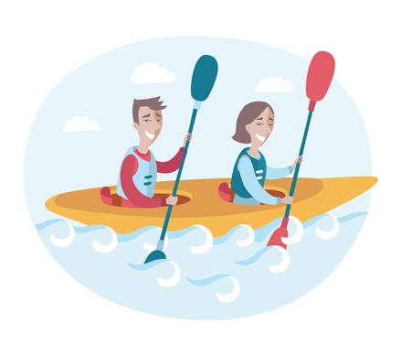 Vector illustration of couple in a canoe rowing oars along the river