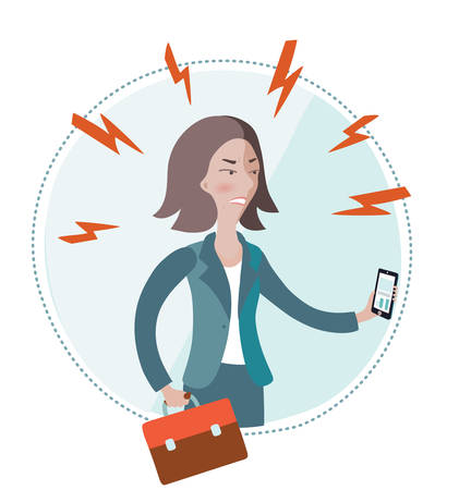 pms: Vector illustration of angry businesswoman holding smart-phone in her hand on white isolated background Illustration