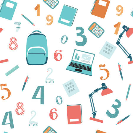 exercisebook: Seamless pattern of vector illustration of education and report tool set on white isolated background