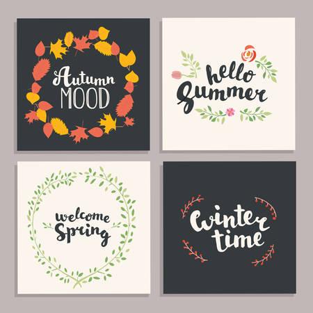 four season: Season illustration. Vector illustration. Four season hand drawn lettering card.Vector illustration. Illustration