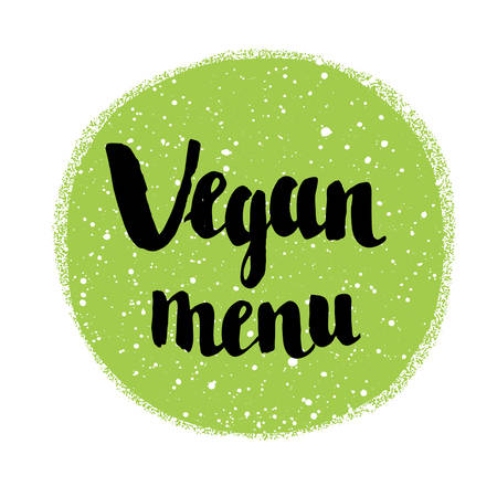 caligraphy: Raw vegan badges. Vector hand drawn labels. Green spot. Caligraphy typographic text.