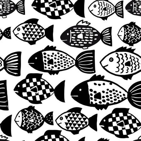 Seamless de poissons vecteur dessinés à la main dans le style de griffonnage noir et blanc. Vecteurs