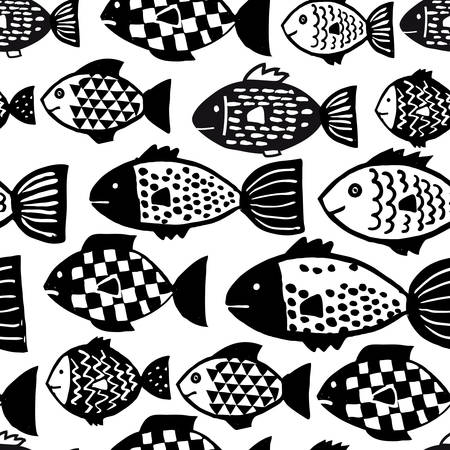 Seamless pattern of hand drawn vector fishes in black and white doodle style. Vector Illustration