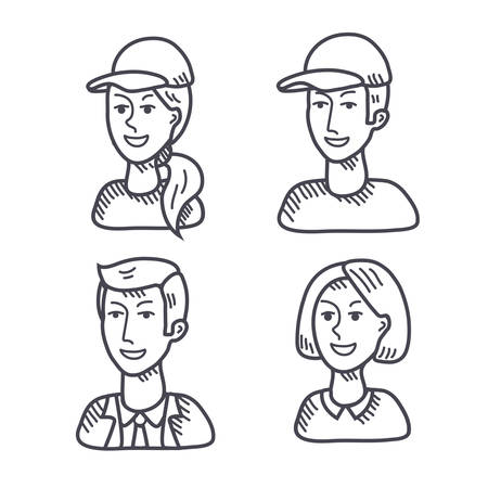 userpic: Outline vector male and woman faces icons isolated set