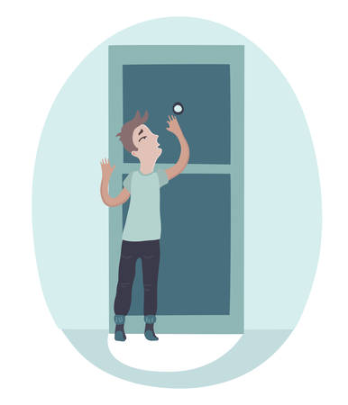 peephole: The boy looking on peephole and opening the door to a one scary guest. Illustration