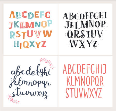 school kit: Vector set of four difference english Alphabets. Cute colorful vector English alphabet, vintage font, funny hand written font and capital ABC. Lowercase and uppercase letterrs