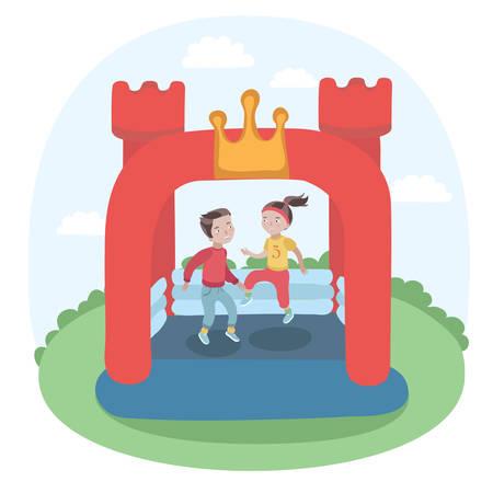 牧草地にカラフルな小さな空気の用心棒インフレータブル トランポリン城で跳んでいる子供のベクトル イラスト