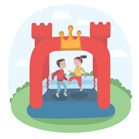 Vector illustration of kids jumping in colorful small air bouncer inflatable trampoline castle on the meadow Vettoriali