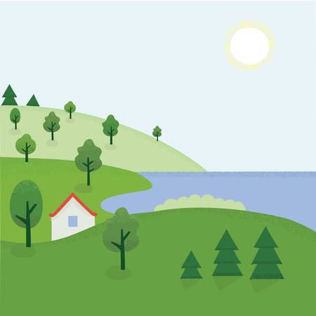 bue: Vector illustration of cartoon summer landscape of rhe countryside Illustration