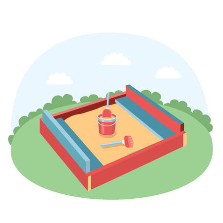 sandbox: Vector illustration of sandbox with children scoop, rakes and baby bucket with sand