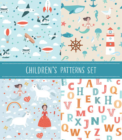 bedclothes: Cute vector seamless childrens background . Use it for childrens wallpaper, gift wrapping, prints for baby clothes, prints for bedclothes, greeting cards, Illustration