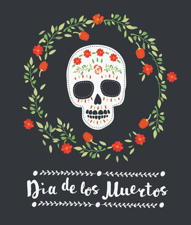 los: Colored vector illustration of sugar skull, floral decorative elements and lettering on dark background. Day of the dead.