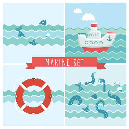Vector set of  illustrations of fishing trip, octopus tentacles, fish, float and starfish and periscope of submarine, steamship and lifeguard in the waves illustration. Fishing  trip and cruise