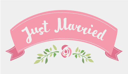 newly wedded couple: Vector decorative hand drawn lettering of text Just Married and pink ribbon isolated on white background