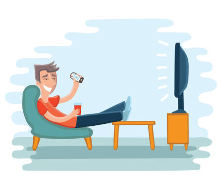 Vector illustration of man watching television on armchair. Tv and sitting in chair, drinking Stock Illustratie