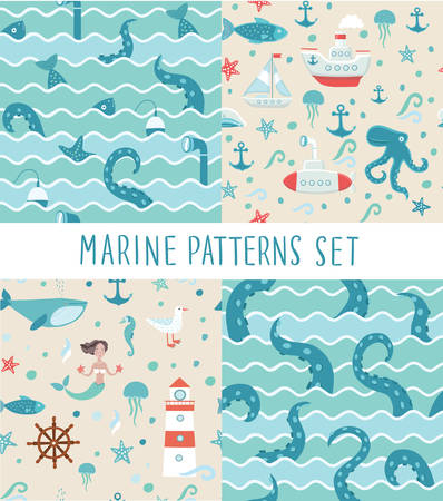 monsters house: Vector seamless patterns sets of illustrations of fishing trip, octopus tentacles, fish, mermaid submarine whale whilestarfish, anchor seagul. jellyfish, lighthouse Illustration