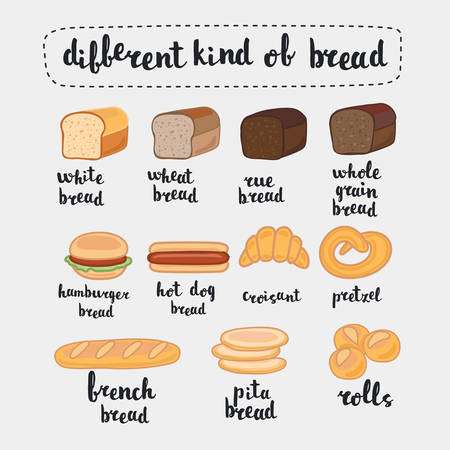 rye bread: illustration, isolated on white,. Set of cartoon food: bread - rye bread, wheat bread, whole grain bread,  french baguette, croissant and lettering name in English Illustration