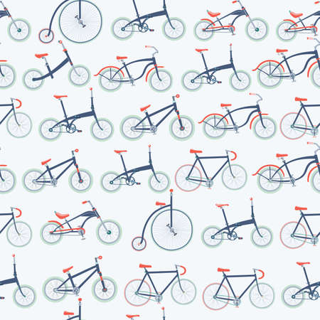 cruiser bike: seamless pattern of illustration of different kinds of bicycles Stock Photo