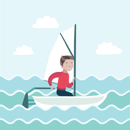 away travel: illustration of a boy sailing in the sea and rules the boat