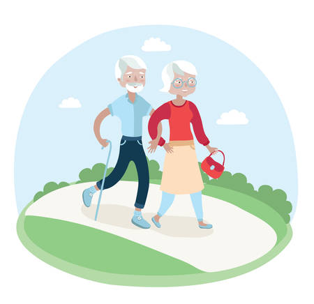 old couple walking: illustration of elderly couple walking in the park