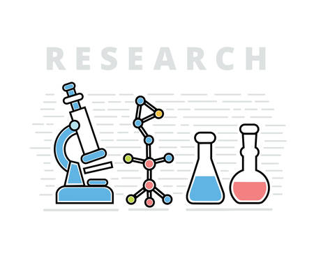 theory: Science horizontal banners set with theory experiment research isolated illustration