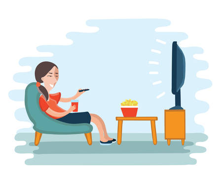 hollyday: illustration of woman watching television armchair and sitting in chair, drinking Illustration