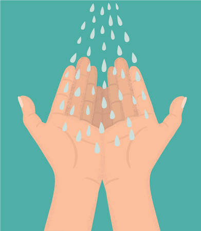 illustration of blue water-drops drip onto an open hands  イラスト・ベクター素材