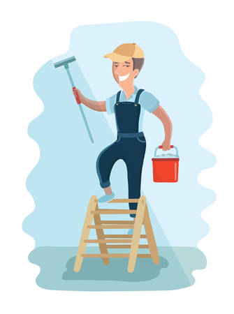window washer: illustration of window washer is cleaning window using a squeegee. Housekeeping service
