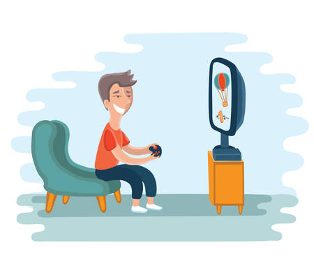 playing video games: illustration of boy addicted to playing video games. Illustration
