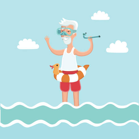 old man standing: illustration of old man standing in sea water with diving mask on his face and diving tube in his hand