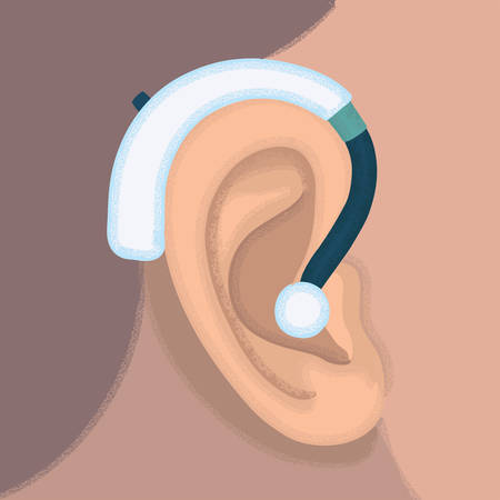 hearing aid: illustration of ear and hearing aid